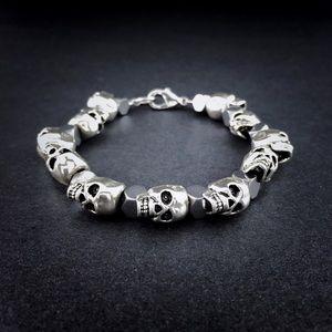 💀Silver Skull Hematite Men's Beaded Bracelet